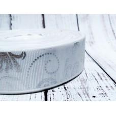 Репсовая лента 25 мм. Узоры. Белая с серебром