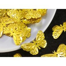 Пайетки Мотылек золотистый. 2,5*1,4  см.