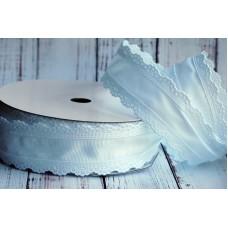 Лента репсовая с ажурным краем 3,5 см. Белая