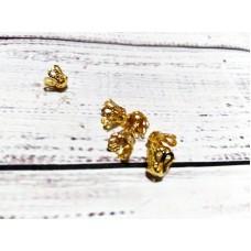 Конус Шапочки для Бусин, Металлические, Цвет: Золото, Размер: 6х4.5мм, Отверстие 1мм