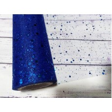 Фатин. Синий с глиттером. Ширина 15 см