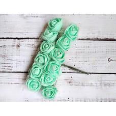 Роза латексная 2  см. 12 шт. Бирюзовая с фатином