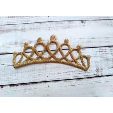 Корона золотистая . Экокожа. Размер 12,7*5 см