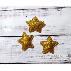 Звездочка золотистая. Глиттер. Размер 3 см