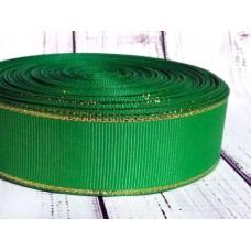 Репсовая лента с люрексом. Ширина 2,5 см. Зеленая
